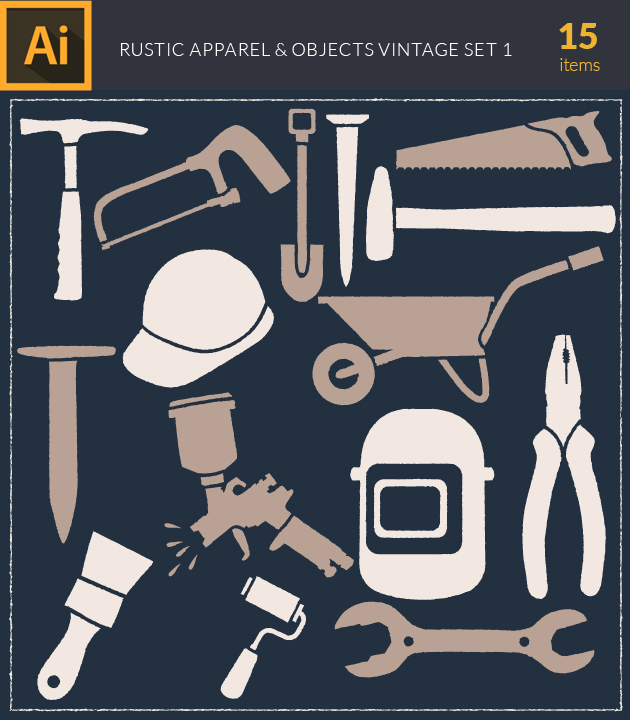 Free T-shirt Design Creator Tool vector rustic apparel and objects vintage vector set 1