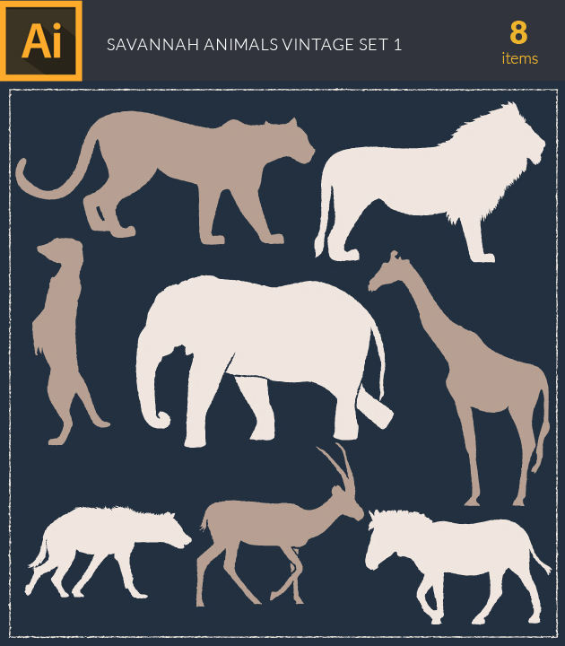 Free T-shirt Design Creator Tool vector savannah animals vintage vector set 1