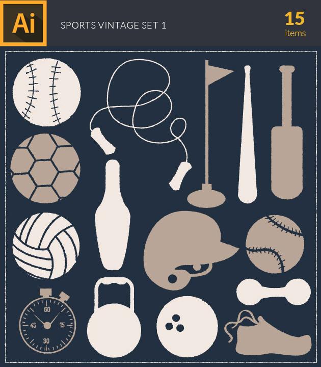 Free T-shirt Design Creator Tool vector sports vintage vector set 1