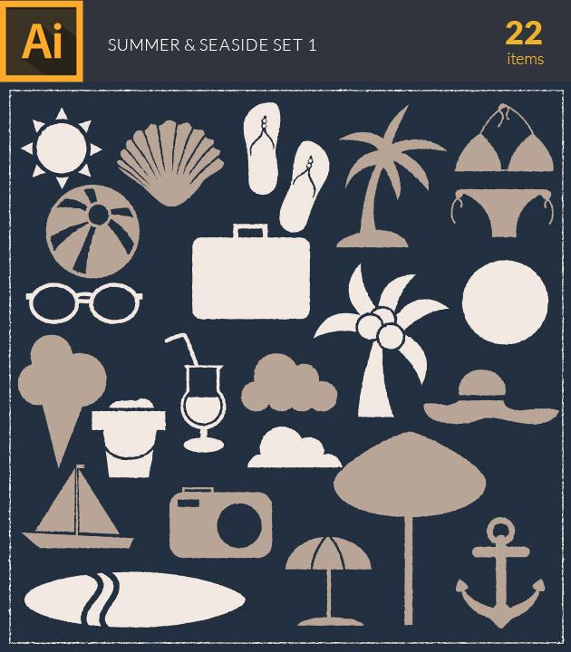 Free T-shirt Design Creator Tool vector summer and seaside vintage vector set 1