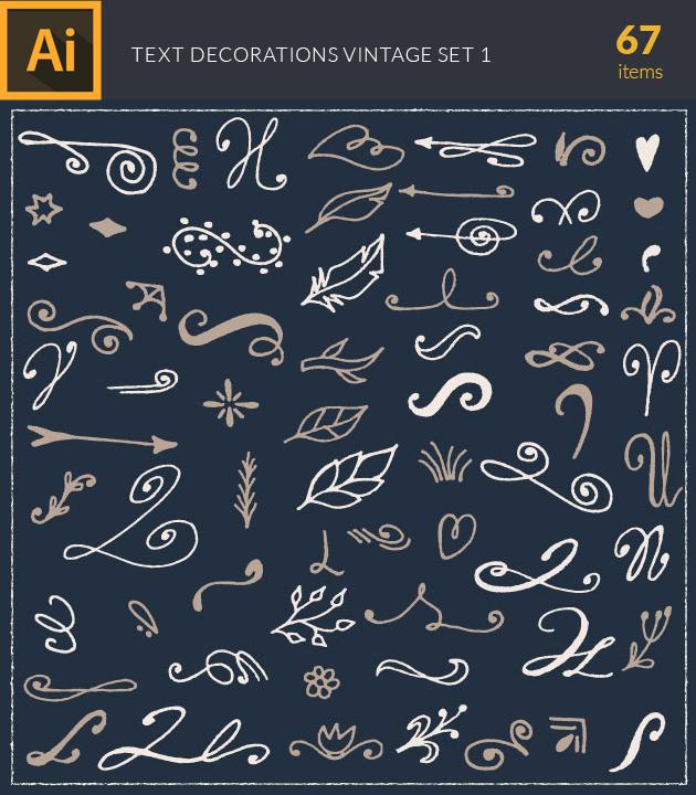 Free T-shirt Design Creator Tool vector text decorations vintage vector set 1