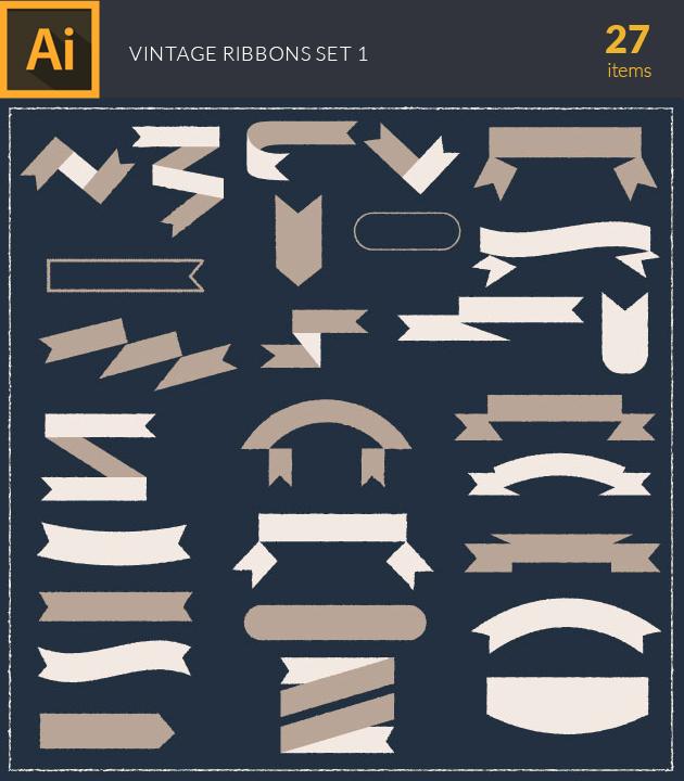 Free T-shirt Design Creator Tool vector text ribbons vintage vector set 1