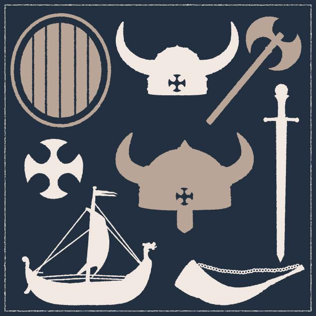 Free T-shirt Design Creator Tool vector viking war gear vintage vector set 1