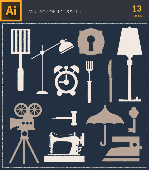 Free T-shirt Design Creator Tool vector vintage objects vector set 1