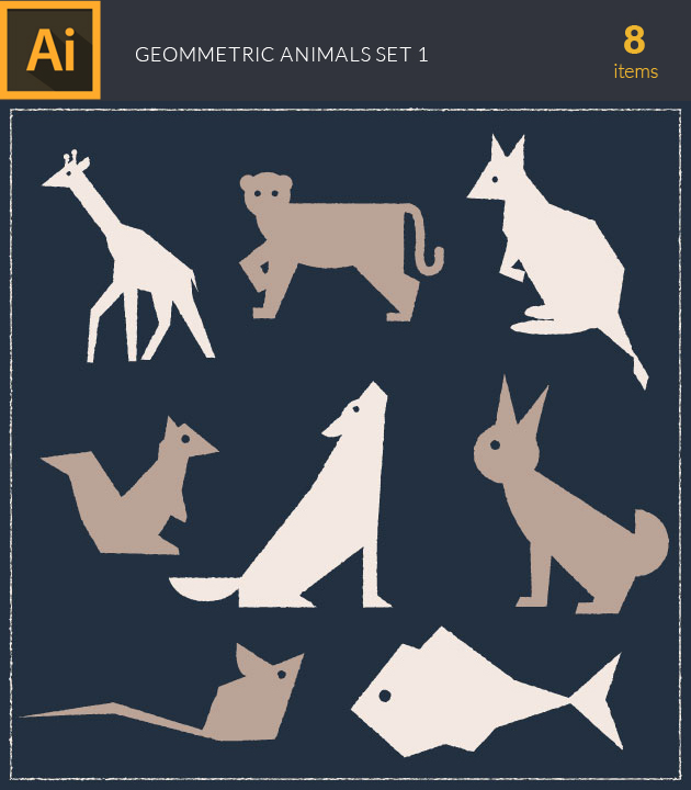 Free T-shirt Design Creator Tool vector wild animals geometric vintage vector set 1