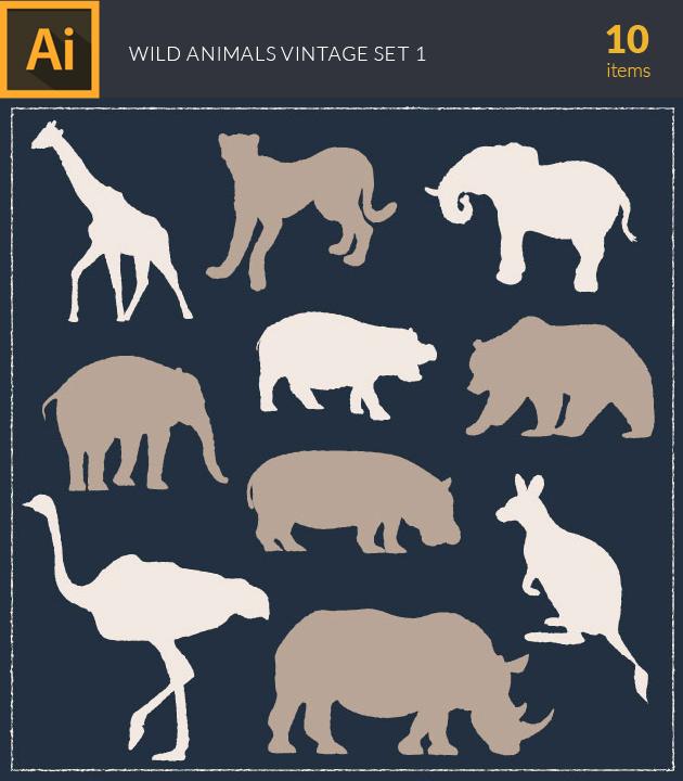 Free T-shirt Design Creator Tool vector wild animals vintage vector set 1