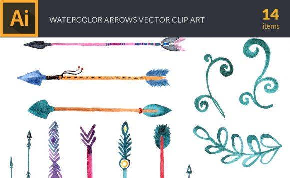 Watercolor Arrows Vector Set 1 design tnt vector watercolor arrows small