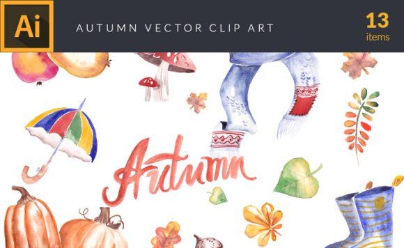 Watercolor Fall Elements Set 1 design tnt vector watercolor autumn small