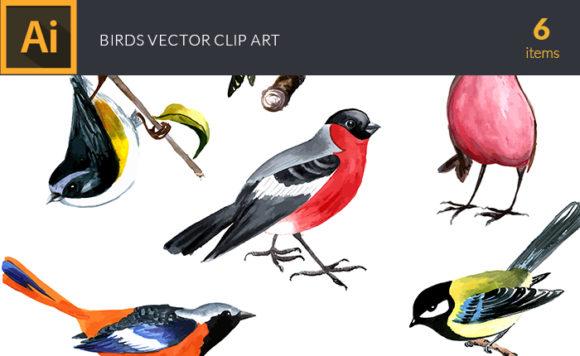 Watercolor Birds Vector Clipart design tnt vector watercolor birds small