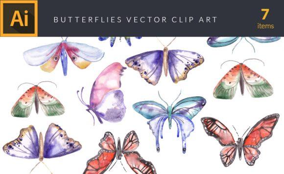Watercolor Butterflies Vector Clipart Vector packs vector