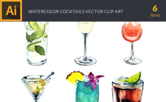 Watercolor Cocktails Vector Clipart Vector packs cocktail