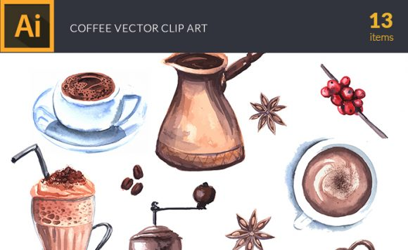 Watercolor Coffee Vector Clipart design tnt vector watercolor coffee small