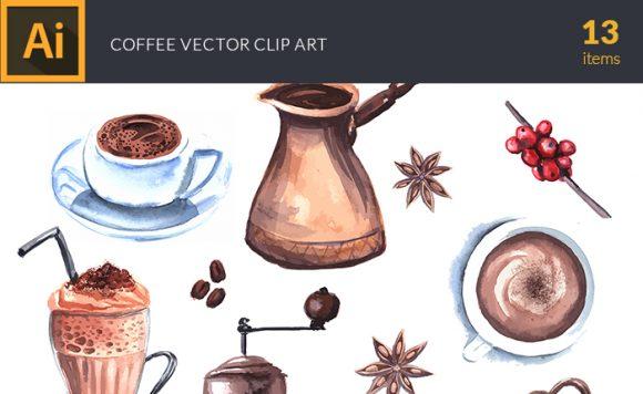 Watercolor Coffee Vector Clipart Vector packs vector