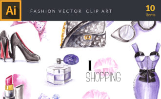 Watercolor Fashion Vector Clipart Watercolor vector