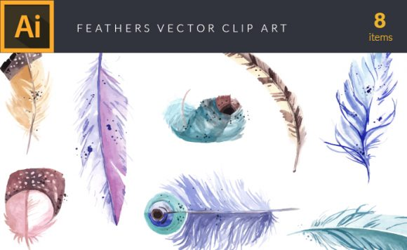 Watercolor Feathers Vector Clipart Vector packs vector