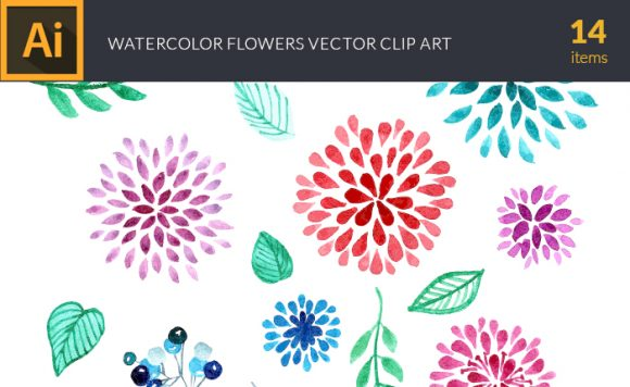 Watercolor Flowers Vector Set 1 design tnt vector watercolor flowers 1 small