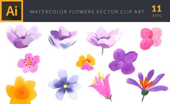 Watercolor Flowers Vector Set 3 design tnt vector watercolor flowers 3 small