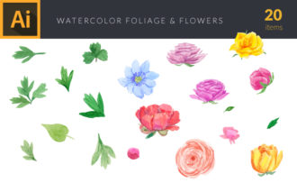 Watercolor Flowers and Foliage Vector Clipart Watercolor vector