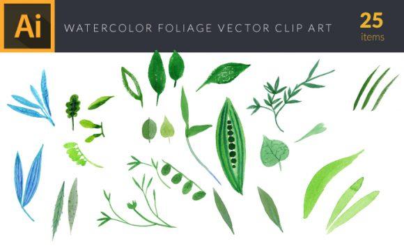 Watercolor Foliage Vector Set 2 Vector packs vector