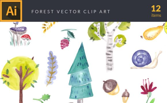 Watercolor Forest Vector Clipart design tnt vector watercolor forest small