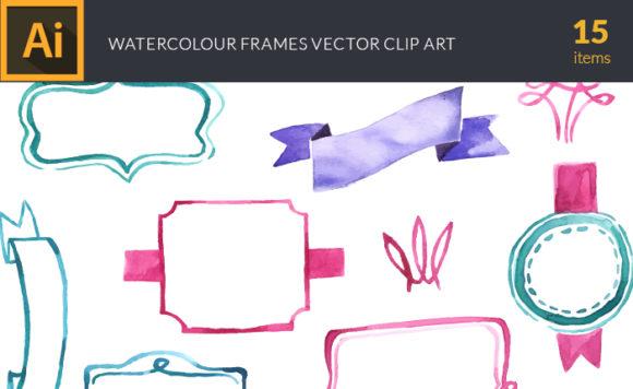 Watercolor Frames Vector Clipart Watercolor vector