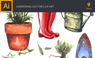 Watercolor Gardening Vector Clipart Watercolor vector