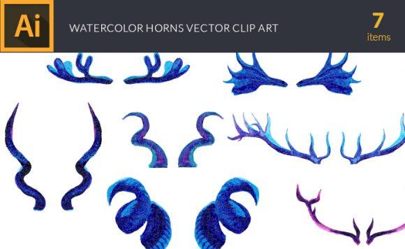 Watercolor Horns Vector Clipart design tnt vector watercolor horns small