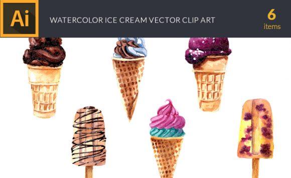 Watercolor Ice Cream Vector Clipart Watercolor ice cream