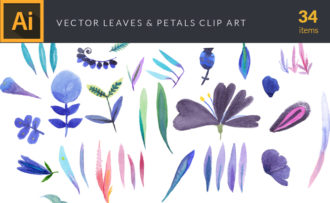 Watercolor Leaves & Petals Vector Clipart Watercolor vector