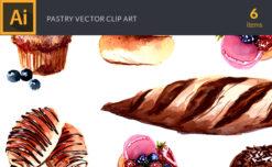 Watercolor Pastry Vector Clipart Vector packs vector