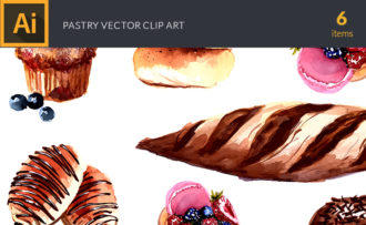 Watercolor Pastry Vector Clipart Watercolor vector