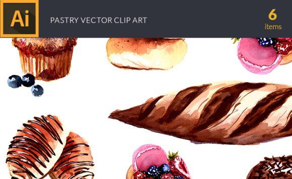 Watercolor Pastry Vector Clipart Watercolor vector