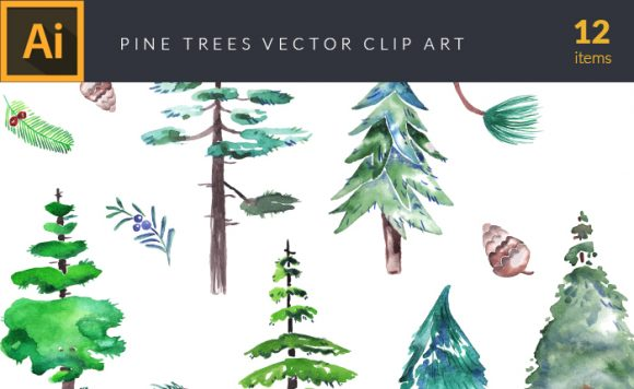 Watercolor Pine Trees Vector Clipart 1