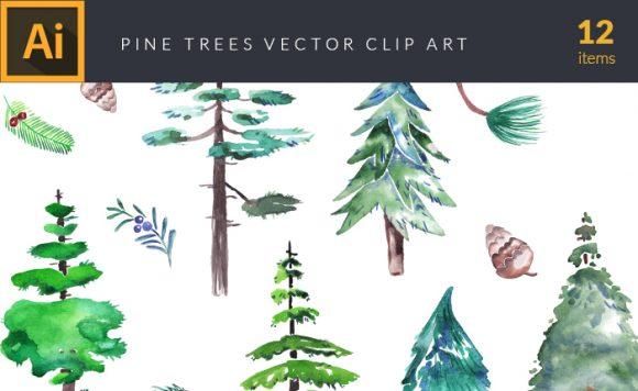 Watercolor Pine Trees Vector Clipart design tnt vector watercolor pine trees small