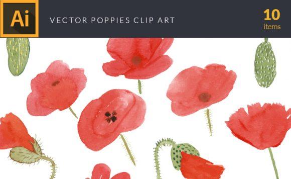 Watercolor Poppies Vector Clipart Vector packs vector
