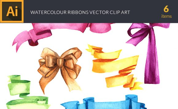 Watercolor Ribbons Vector Clipart Vector packs vector