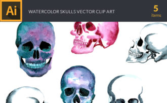Watercolor Skulls Vector Clipart Watercolor vector