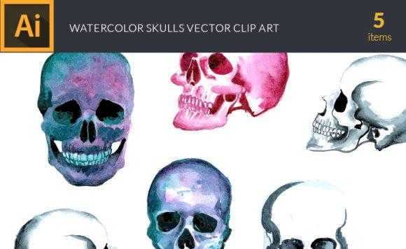 Watercolor Skulls Vector Clipart design tnt vector watercolor skulls small