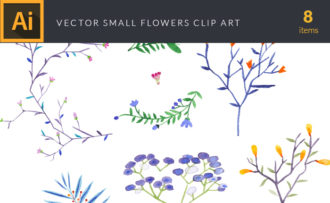 Watercolor Small Flowers Vector Clipart Watercolor vector