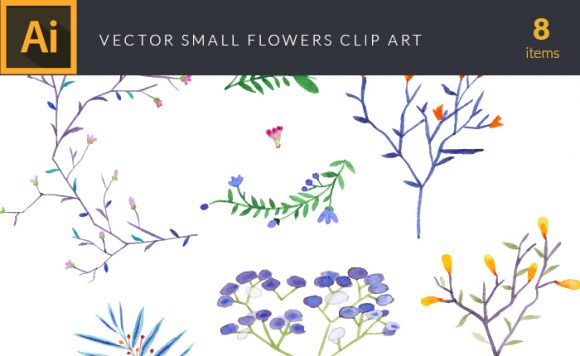 Watercolor Small Flowers Vector Clipart Vector packs vector