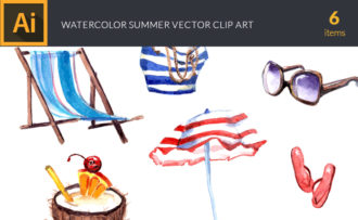 Watercolor Summer Vector Clipart Vector packs cocktail