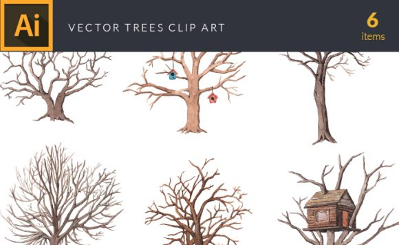 Watercolor Trees Vector Clipart Watercolor tree