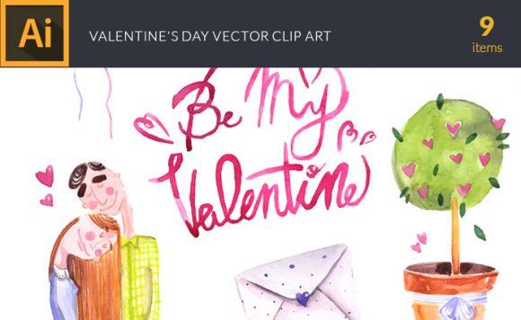Watercolor Valentines Vector Clipart Vector packs vector