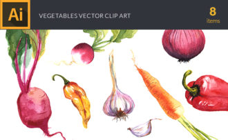 Watercolor Vegetables Vector Clipart Vector packs vector