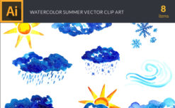 Watercolor Weather Vector Clipart Vector packs vector