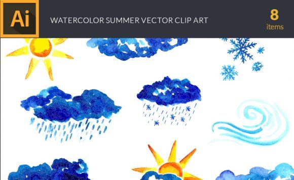 Watercolor Weather Vector Clipart design tnt vector watercolor weather small