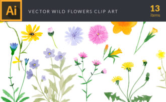 Watercolor Wild Flowers Vector Clipart Watercolor vector