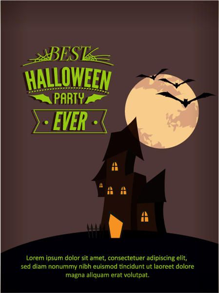 Halloween Vector illustration  with castle, moon, Vector Illustrations vector
