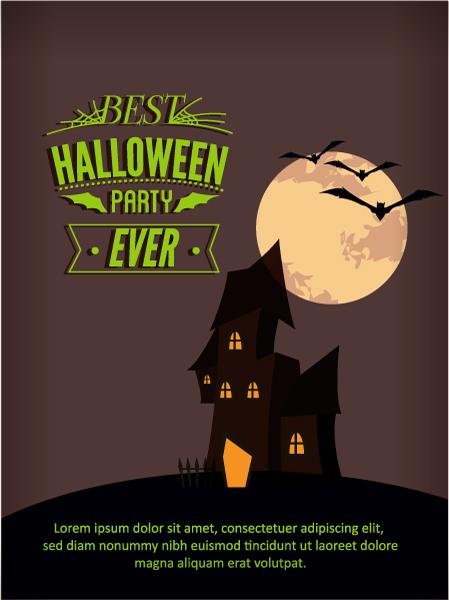 Halloween Vector illustration  with castle, moon, 2015 08 03