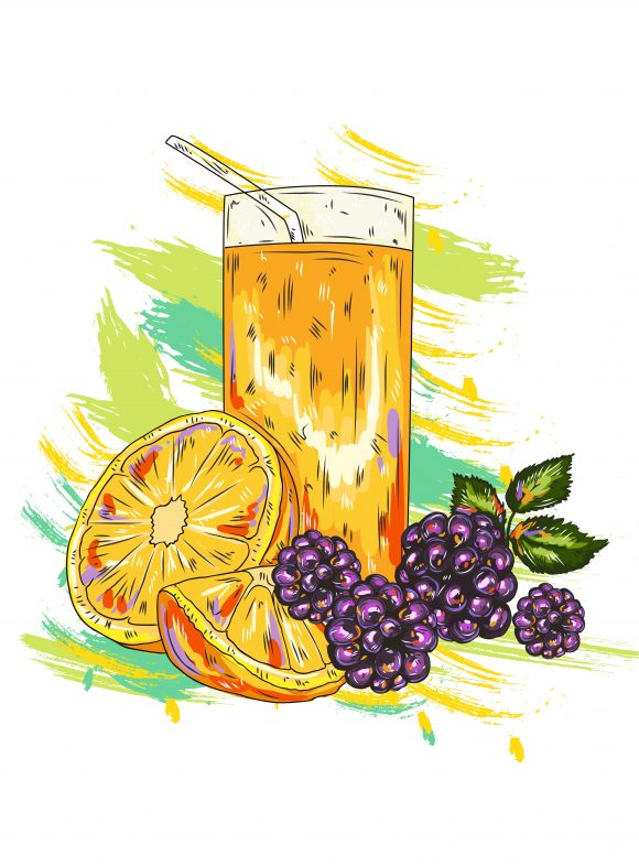 vector fruits with colorful splashes Vector Illustrations cocktail